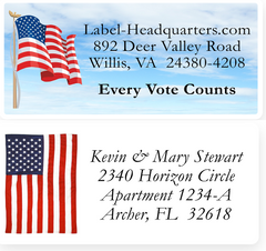 American Flag Address Labels on Sheets