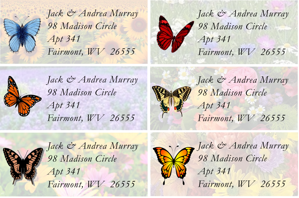 Classic Butterfly Sheet Labels