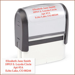 Standard Self-Inking Address Stamp (4 Lines, Black, Red, Blue)