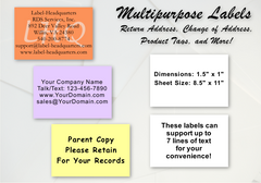 "Sheet Labels - 1.5"" x 1.0"", Up to 7 Lines of Text"