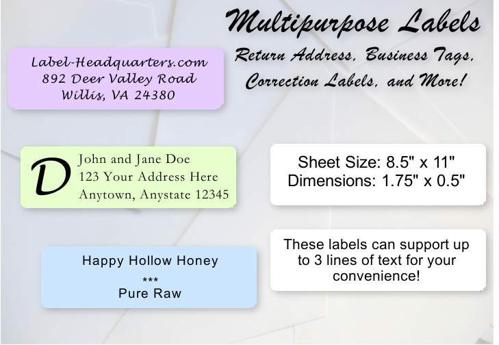 sheet labels 1 75 x 0 5 up to 3 lines of text label