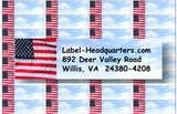 Traditional American Flag Address Labels on Sheets