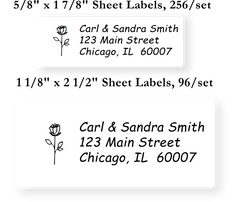 Flowers and Hearts Icon Address Labels on Sheets