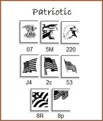 Be Patriotic with your labels . . . choose from flag and other patriotic designs.
