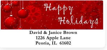 Christmas Greetings Address Labels on Sheets