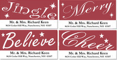 Red and White Christmas Words Address Labels on Sheets