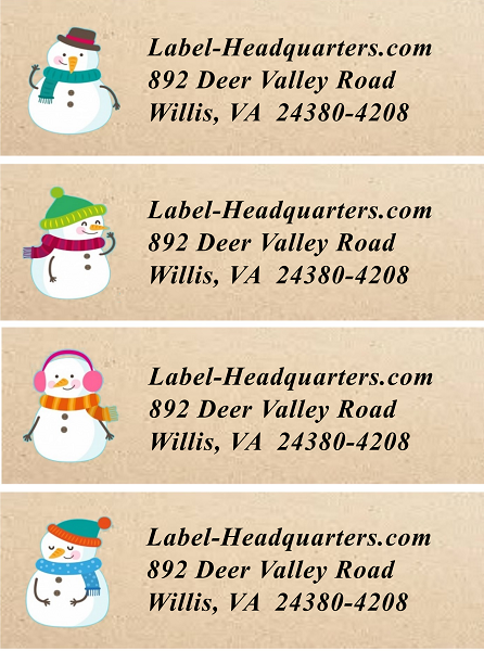 snowflake or snowman sheets of address labels  u2013 label