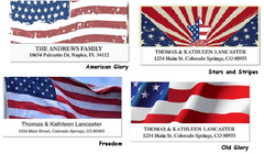 Stars and Stripes Patriotic Address Labels on Sheets