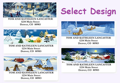 Wintry Christmas Scene Sheet Labels