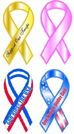 Ribbon Stickers, Patriotic and Cancer - Peel and Stick