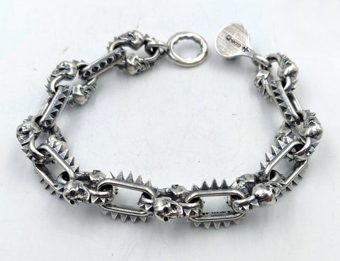 Spike & Skull Link Bracelet with Lobster Clasp - Large Links