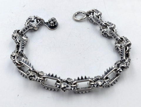 Spike & Skull Link Bracelet with Lobster Clasp - Small Links