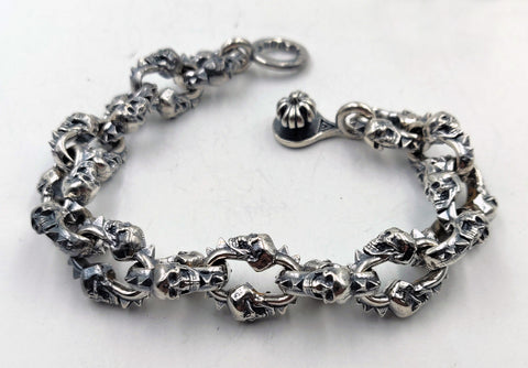 Double Skull Link Bracelet with Lobster Clasp - Large Links
