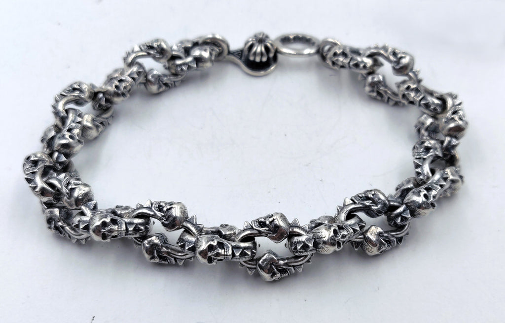 Double Skull Link Bracelet with Lobster Clasp - Small Links