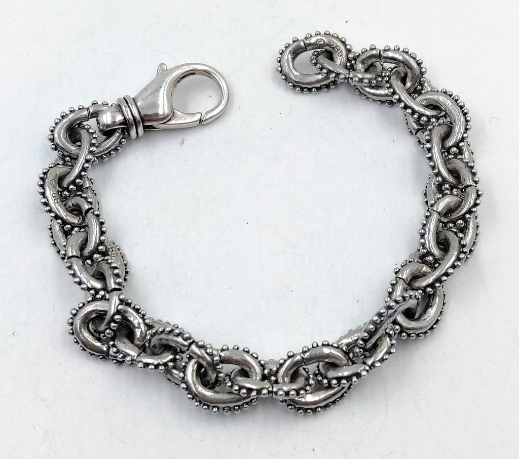 Anchor Chain Bracelet with Caviar Beading & Lobster Clasp - Small Links