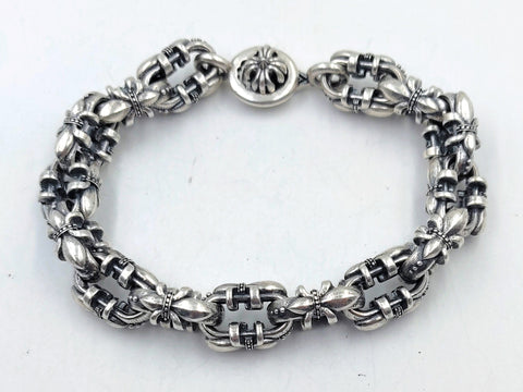 Royal Fleur-de-lis Link Bracelet with Lobster Clasp - Large