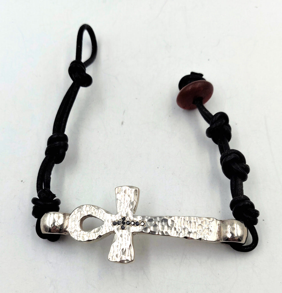 Hand-Hammered Ankh Bracelet with Black Diamonds