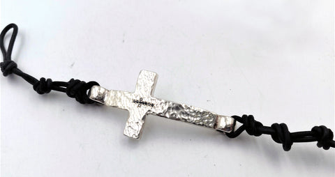 Hand-Hammered Cross Bracelet with 9 Black Diamonds