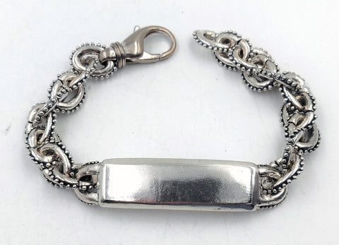 Sterling Silver ID Anchor Chain Bracelet With Caviar Beading & Lobster Clasp - Small Links