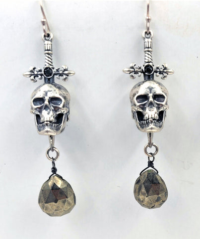 Sterling Silver Sword and Skull Earrings with Hematite Briolette Drops