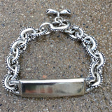 Anchor Chain ID Bracelet With Caviar Beading & Snake Toggle Clasp - Small Links