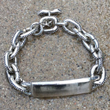 Anchor Chain ID Bracelet with Caviar Beading & Snake Toggle Clasp - Large Links