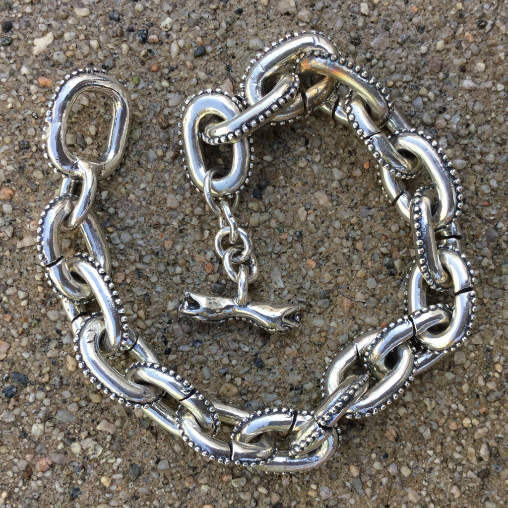 Anchor Chain Bracelet With Caviar Beading & Snake Toggle Clasp - Large Links