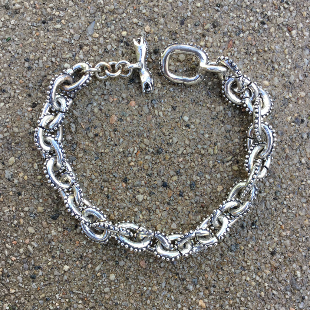 Anchor Chain Bracelet With Caviar Beading & Snake Toggle Clasp - Small Links