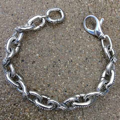 Ouroboros Bracelet With Lobster Clasp - Large Links