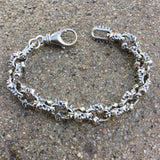 Spikes and Skulls Bracelet With Lobster Clasp - Small Links