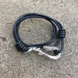 Sterling Silver Serpent Hook Bracelet on Black Leather
