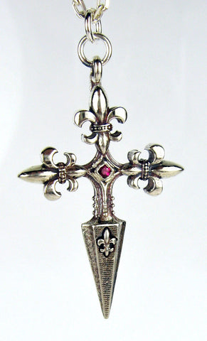 Sterling Silver Fleur-de-Lis Dagger Pendant with Red Ruby