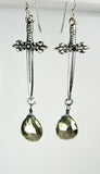 Sterling Silver Sword Earrings with Black Diamond Center and Hematite Briolette Drops