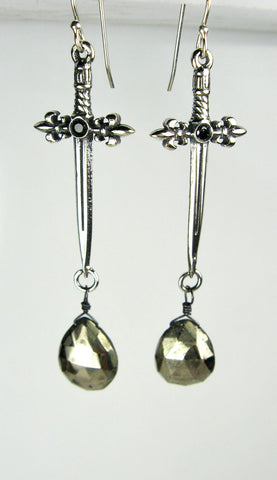 Sterling Silver Sword Earrings with Hematite Briolette Drops