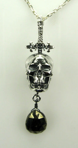 Sterling Silver Fleur-de-Lis Sword and Skull Pendant with Black Diamond & Hematite Briolette