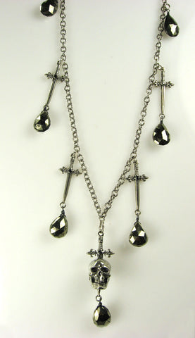 Sterling Silver Sword and Skull Necklace with Hematite Briolette Drops
