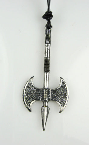 Sterling Silver Double-Headed Axe Pendant with Spear Tip