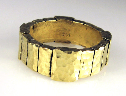 14-Karat Gold Wide Keystone Block Design Ring