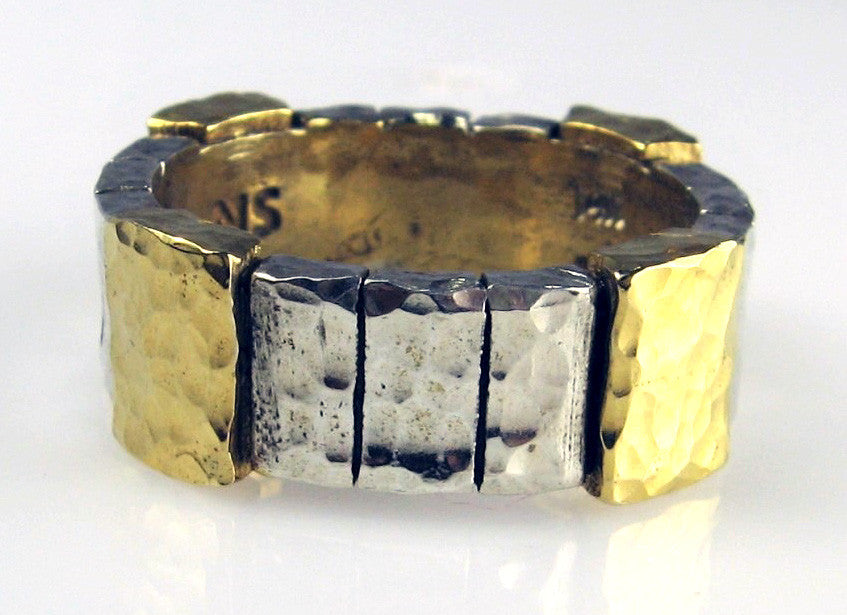 Sterling Silver & 14-Karat Gold Wide Keystone Block Design Ring