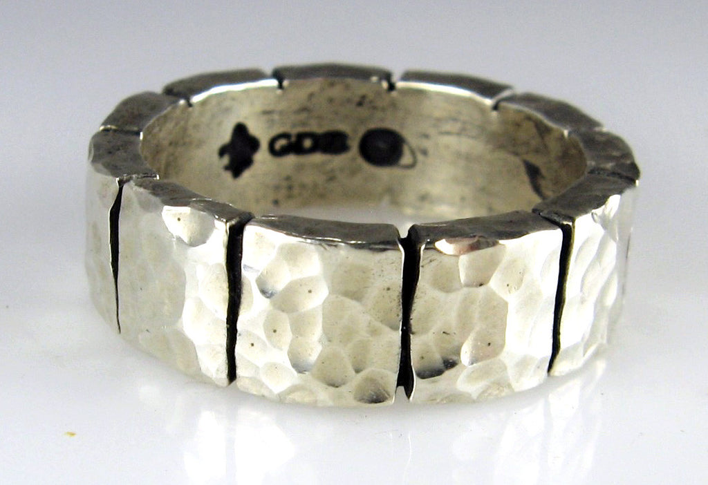 Sterling Silver Wide Foundation Stone Block Design Ring