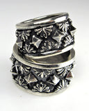Sterling Silver Pyramids and Palm Fronds Ring