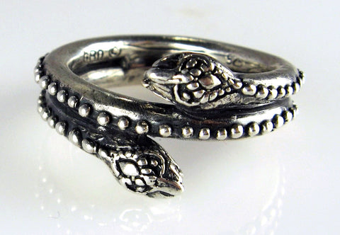 Sterling Silver Double Snake Head Ring