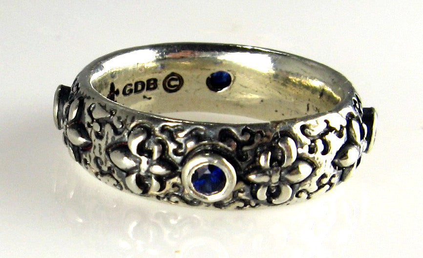 Sterling Silver Fleur-de-Lis Ring with Blue Sapphires