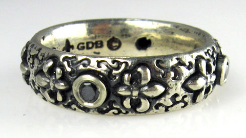 Sterling Silver Fleur-de-Lis Ring with Black Diamonds