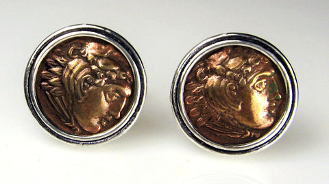 Bronze Greek Coin Cuff Links