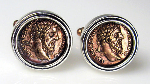 Bronze Roman Coin Cuff Links