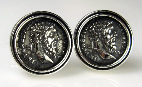 Sterling Silver Roman Coin Cuff Links