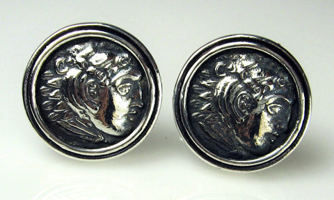 Sterling Silver Greek Coin Cuff Links