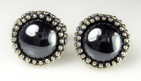 Hematite Cabochon Dome Cuff Links