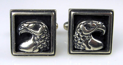 Sterling Silver Art Deco Eagle Head Cuff Links